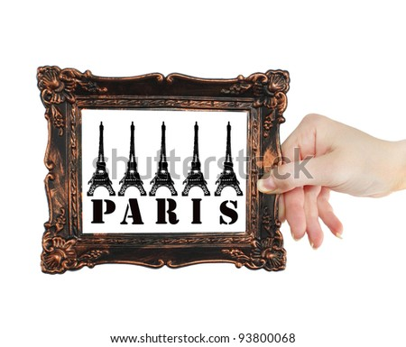 Tower in Paris, France,Vintage  photo frame
