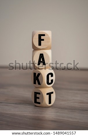 Tower made with cubes and dice with the words fake and fact