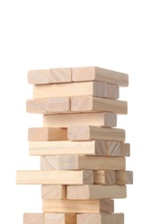tower made with wooden blocks isolated on white background with clipping path and copy space for your text