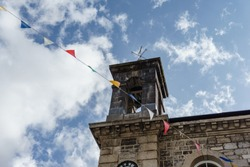 Tower of Ashburton town hall in ashburton, south england at bright day in summer