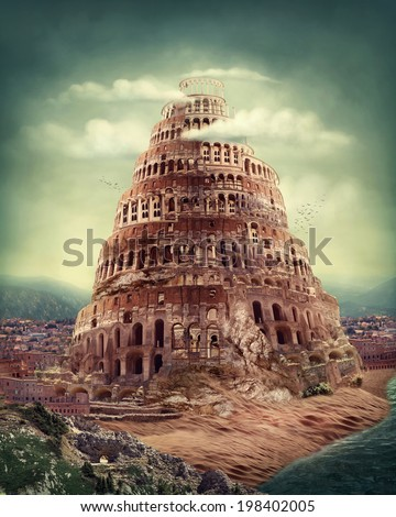 Tower of Babel as religion concept