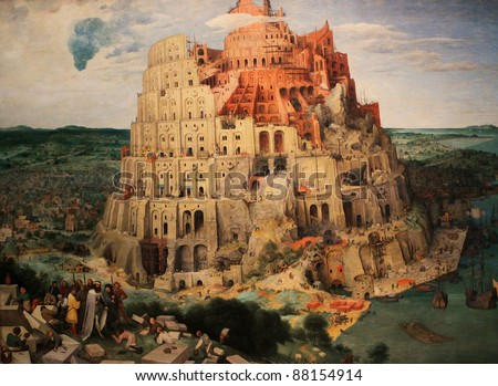 Tower of Babel (Babylon), a famous painting by Pieter Brueghel the Elder created in 1563.