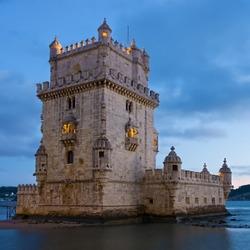 Tower of Belem (Torre de Belem ) in evening. Lisbon, Portugal.