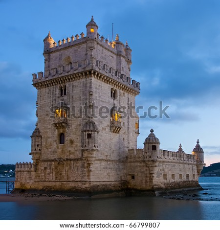 Tower of Belem (Torre de Belem ) in evening. Lisbon, Portugal. - stock photo