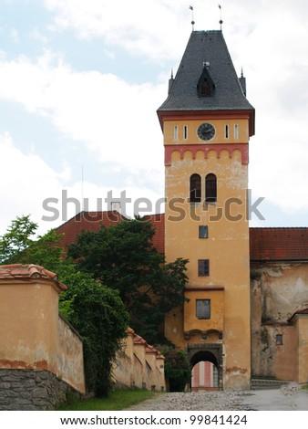 Tower of castle Vimperk in Czech republic - stock photo