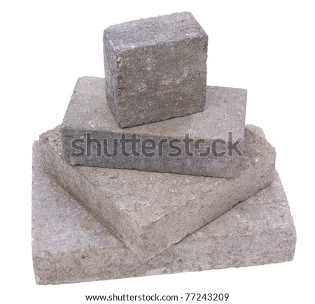 Tower of concrete constructrion blocks, isolated against background