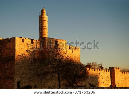 Tower of David (or Jerusalem Citadel) at golden sunset. Jerusalem (Israel).