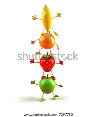 Tower of fruits - stock photo