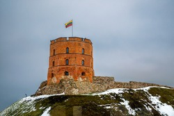 Tower of Gediminas In Vilnius, Lithuania. Historic symbol of the city of Vilnius and of Lithuania. Winter.