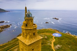 Tower of Hercules (Torre de Hercules) lighthouse located in the city of La Coruna. Galicia, Spain