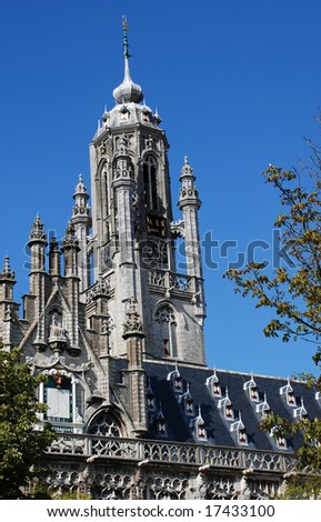 Tower of historic town hall in Middelburg in the Netherlands