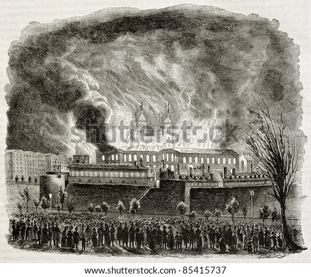 Tower of London fire in 1841. Created by Girardet, published on Magasin pittoresque, Paris, 1842