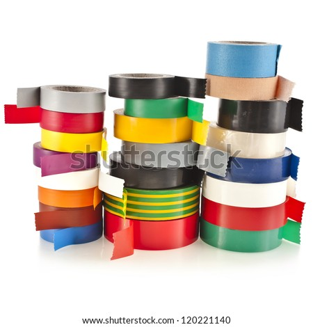 Tower of Multicolored insulating tapes roll  isolated on white background