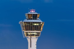 Tower of Munich Airport at night, Munich, Bavaria, Germany.