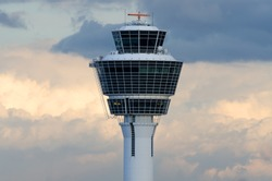 Tower of Munich Airport near Freising, Bavaria, Germany.