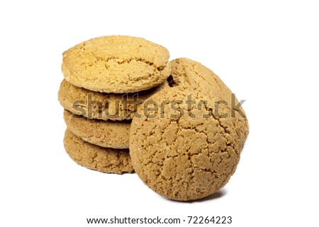 tower of oatmeal cookies on a white background