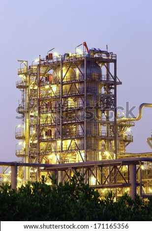 Tower of oil refinery