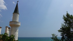 Tower of Palace Balchik. Former residence of the Romanian Queen Maria. Bulgaria.