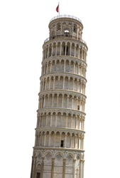Tower of Pisa in Italy with white background