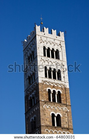 Tower of St Martins Cathedral. Lucca, Italy