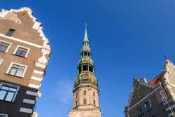 Tower of St. Peter's Church, Lutheran church in Riga, the capital of Latvia, dedicated to Saint Peter. It is a parish church of the Evangelical Lutheran Church of Latvia