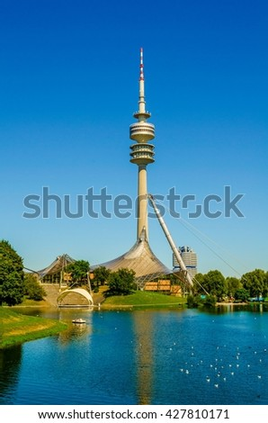 Tower of stadium of the Olympiapark in Munich, Germany, is an Olympic Park which was constructed for the 1972 Summer Olympics