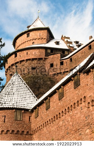 Tower of the Haut-Koenigsbourg castle under the snow in winter, Alsace, France Photo stock ©