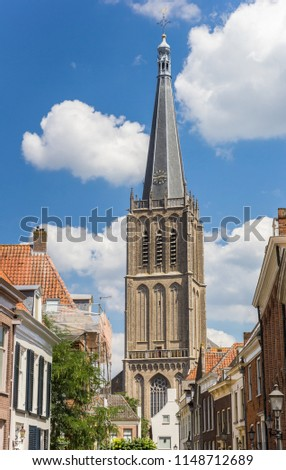 Tower of the Martini church and old houses in Doesburg, Holland #1148712689