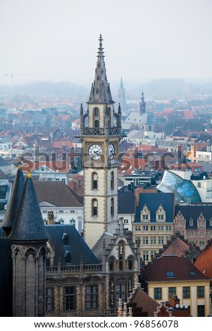 Tower of the Old Post Building, a famous landmark of Ghent, Eastern Flanders, Belgium,