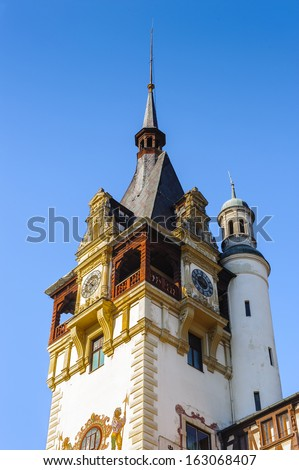 Tower of the Peles Castle, a Neo-Renaissance castle in the Carpathian Mountains of Romania
