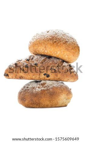 Tower of three artisan baked breads white background