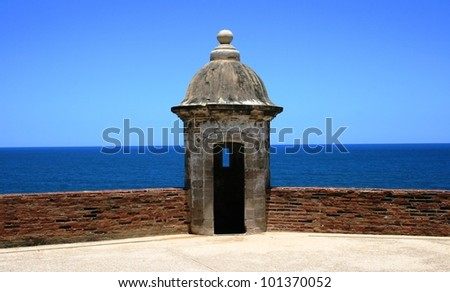 Tower on a historic fort, Old San Juan, Puerto Rico