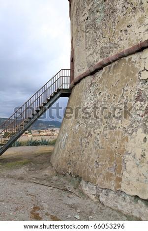 Tower on the beach of Bosa,  Sardinia, Italy