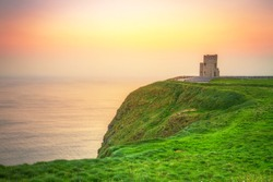 Tower on the Cliffs of Moher at sunset, Ireland