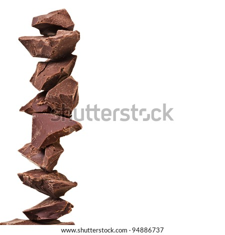 tower stack of chocolate pieces , border with copy space for your text