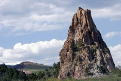 Towering rock formation at Garden of the Gods state park in Colorado Springs, Colorado.