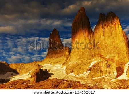 Towers at sunrise, Torres del Paine National Park, Patagonia, Chile