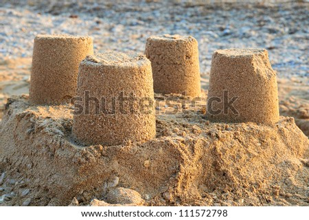 Towers from sand- castle on the beach