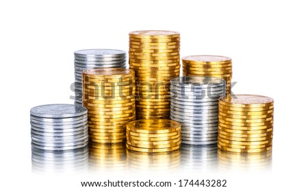 Towers made out of gold and silver coins over white background  #174443282