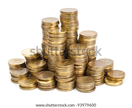 Towers of golden coins on white background
