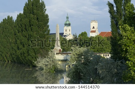 Towers of Gyor Town Flooded by Danube River Stock fotó ©