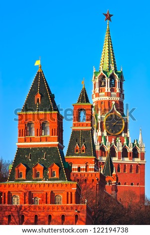 Towers of Moscow Kremlin and famous clocks, Russia
