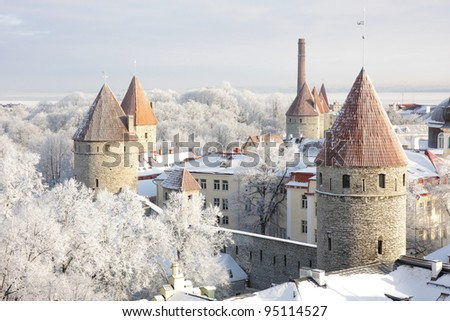 Towers of old town in Tallinn, Estonia