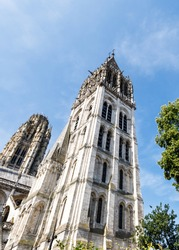 Towers of Rouen Cathedral (Cathedrale de Notre-Dame) in Rouen, capital of Haute-Normandie. Travel France.