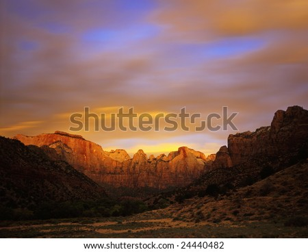 Towers Of The Virgin in Zion National Park, Utah.