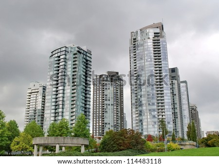 Towerso of Vancouver city, British Columbia, Canada - stock photo