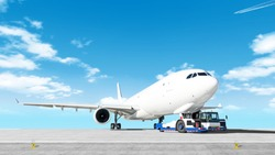 towing cargo airplane to airport runway wide panorama landscape with modern tow tractor on nose gear against clouds blue sky background Aircraft moving by truck Airport overview with cargo plane