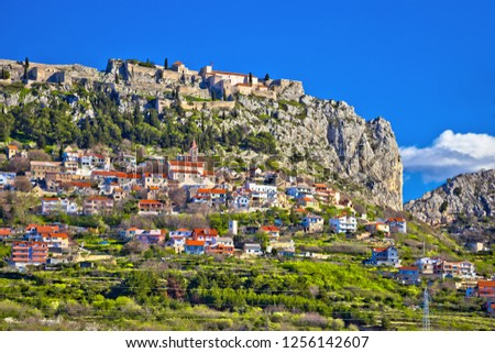 Town and fortress of Klis near Split view, Dalmatia region of Croatia