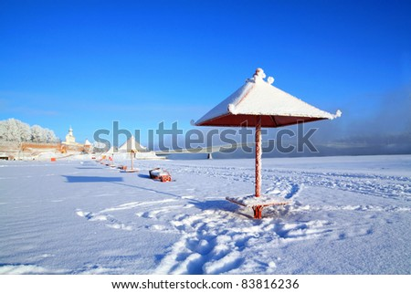 town beach in snow