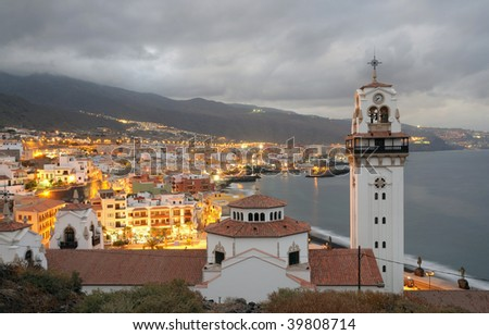 Town Candelaria at dusk. Canary Island Tenerife, Spain